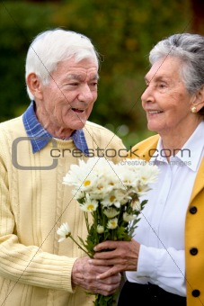 Romantic elderly couple