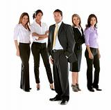 Business man among business women