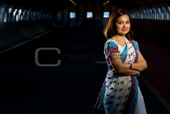 Attractive indian lady in traditional costume