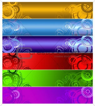 six multi-coloured  banners