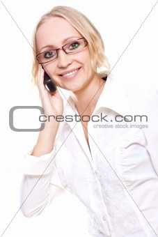 business woman in a glasses with telephone