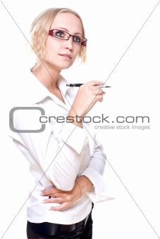 business woman in a glasses with pen