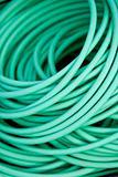 Close up on a green garden hose