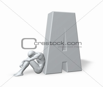 sitting man leans on uppercase letter A
