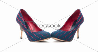 Pair of high-heeled blue and red shoes isolated on white