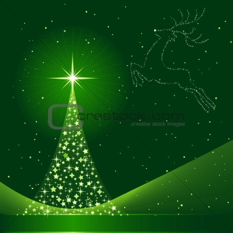 Green abstract Christmas background with Christmas tree and reindeer