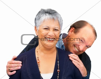 Happy senior couple on white background