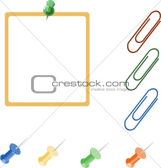 Blank note paper with colorful pins and paper clips icons vector