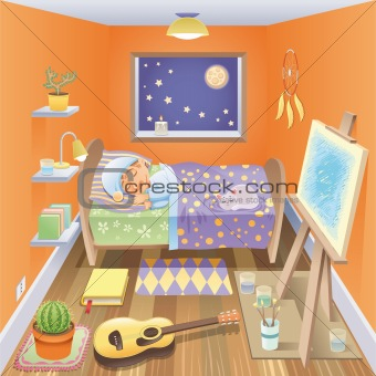 Boy is sleeping in his bedroom