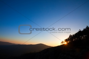 Beautiful mountain sunset with deep blue sky in the north of Portugal.