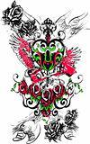 angel heart royal key emblem with roses