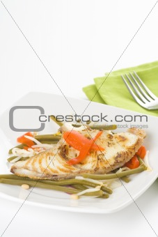 grilled fillet of fish and soy beans