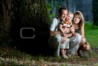 Happy perfect young family