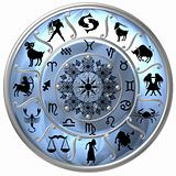 Blue Zodiac Disc with Signs and Symbols