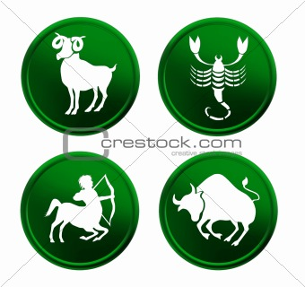 green zodiac signs - set 1