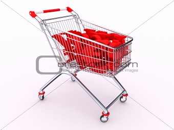 Cart with money symbols