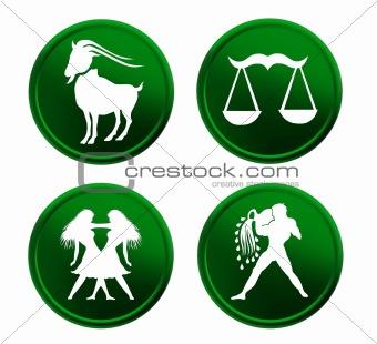 green zodiac signs - set 2
