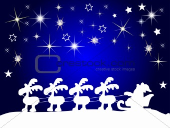 santa claus silhouette with stars at night