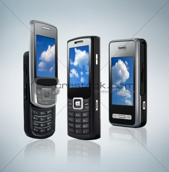 three different mobile phones