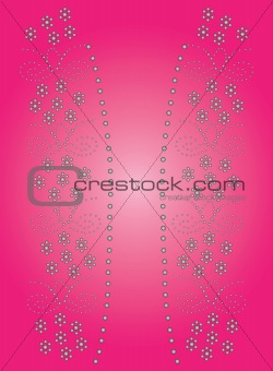 beaded flower border artwork