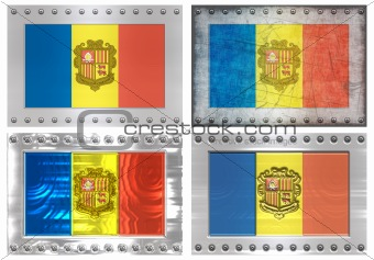 four metal Flags of andorra
