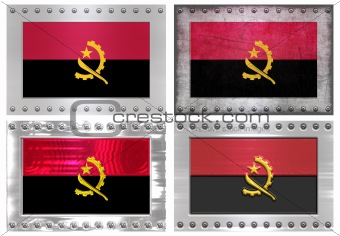 four metal Flags of angola