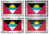 four metal flags of antigua barbuda