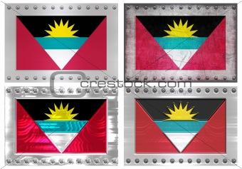 four metal flags of antigua barbuda