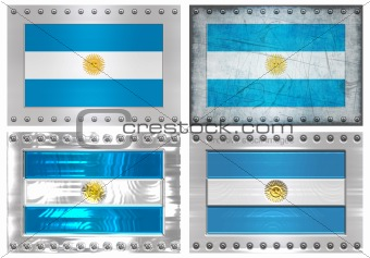 four metal flags of Argentina