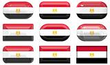 nine glass buttons of the Flag of Egypt