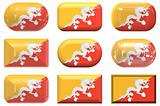 nine glass buttons of the Flag of Bhutan