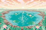 Cartoon pond with lotus