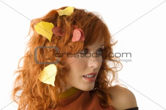 fall leaves between hair