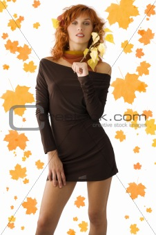 red woman and fall leaves