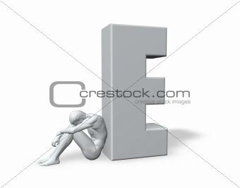 sitting man leans on uppercase letter E