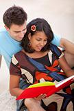 Loving couple reading