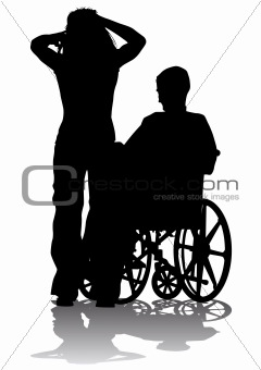 Disabled person on a walk