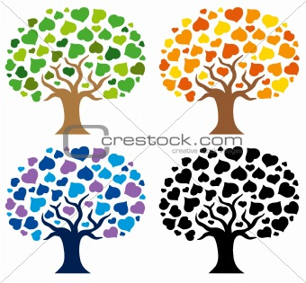 Various trees silhouettes