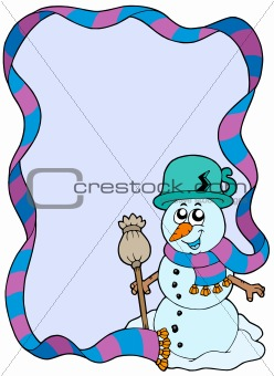 Winter frame with cartoon snowman