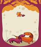 Dachshunds love - autumn banner.
