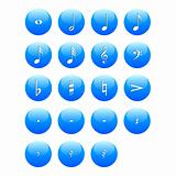 Music notes buttons signs vector illustration