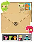 Funny envelope and stamps.