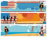 American patriotic vacation banners