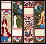 American patriotic vertical banners.