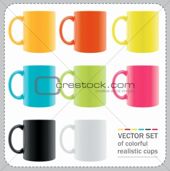 8 colored mugs