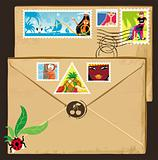 Vacation stamps,  vintage envelope.