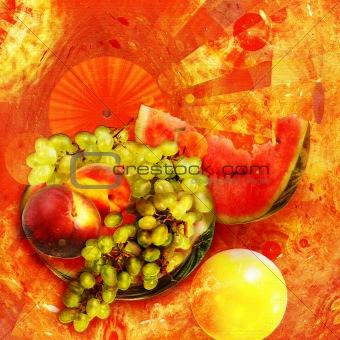 Abstract elegance background. Orange - yellow palette.