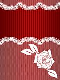 Vertical red and white French lace background
