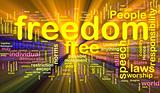 Freedom word cloud glowing