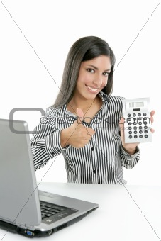 Calculator businesswoman happy for good stats